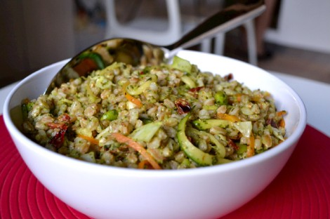Warm Farro Salad with Lemon Basil Dressing (DSC_1118)