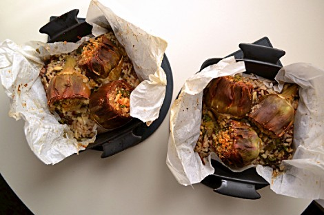 Baked Artichokes with Brown Rice & Spinach (CSC_0595)